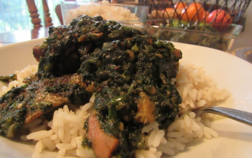 Sweet Potatoes Greens Soup serve over some parboiled cooked rice.--- Enjoy!---ayetonia.com