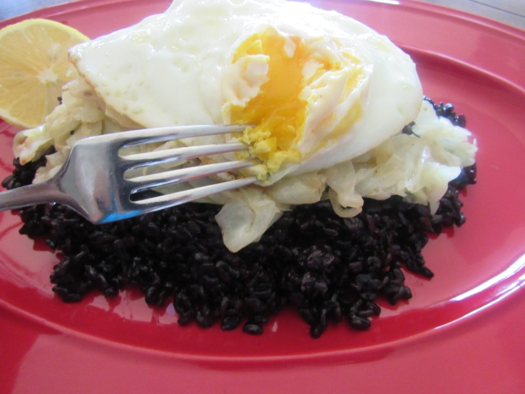 Black Rice, Cabbage and Fry Egg